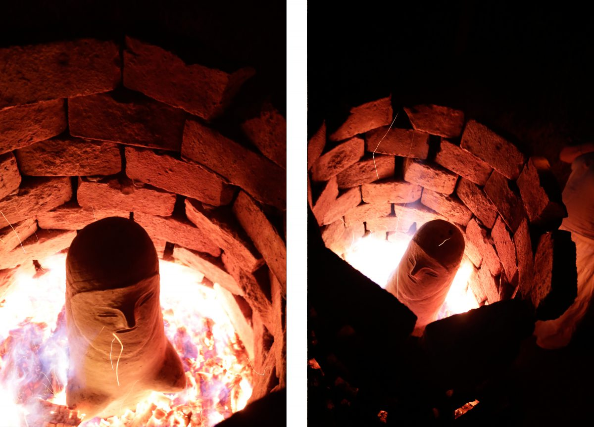Stone oven fire