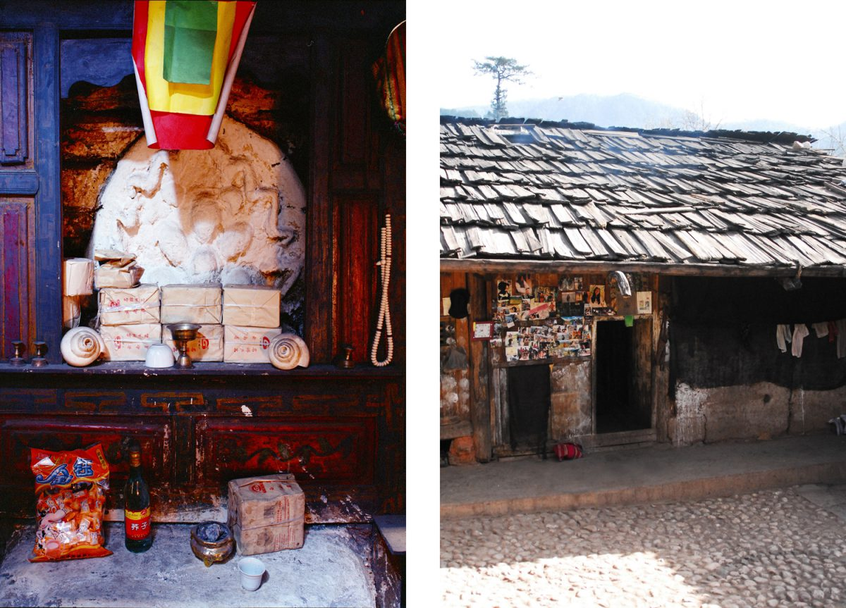 Links: Behind the female fireplace there is a small altar with the sacred symbolizes of the spirit of fire, right: the Zumu outside