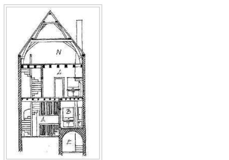 cross box cut of the house Johannes Vermeer