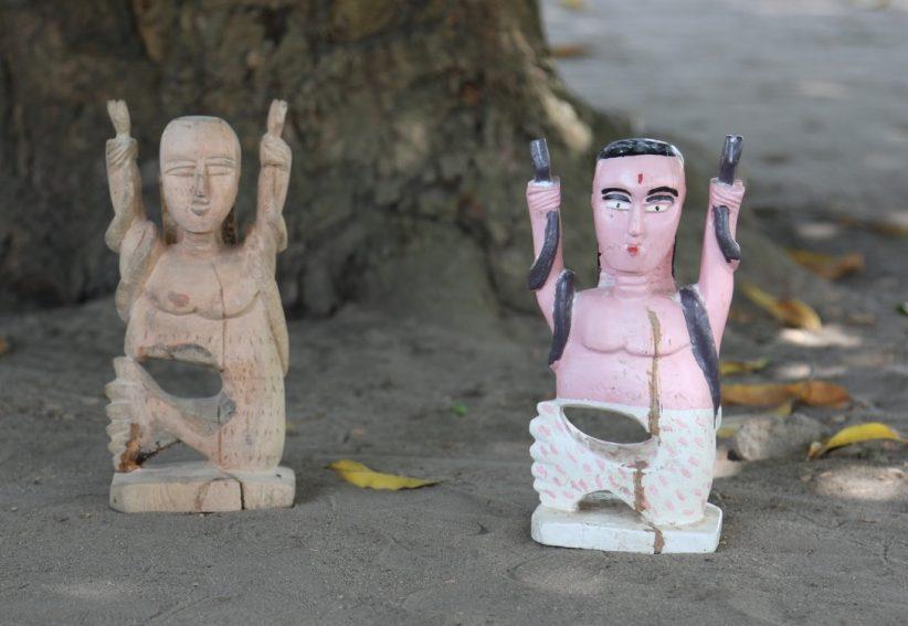Mami Wata figure, original and copy