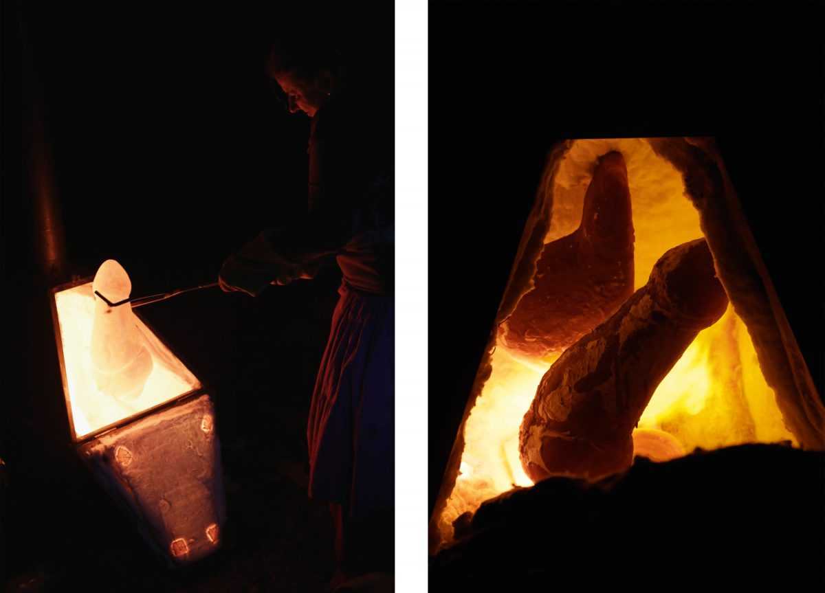 Rituals around a stone and paper oven