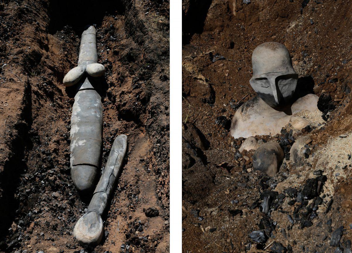 Sculptures after pit fires