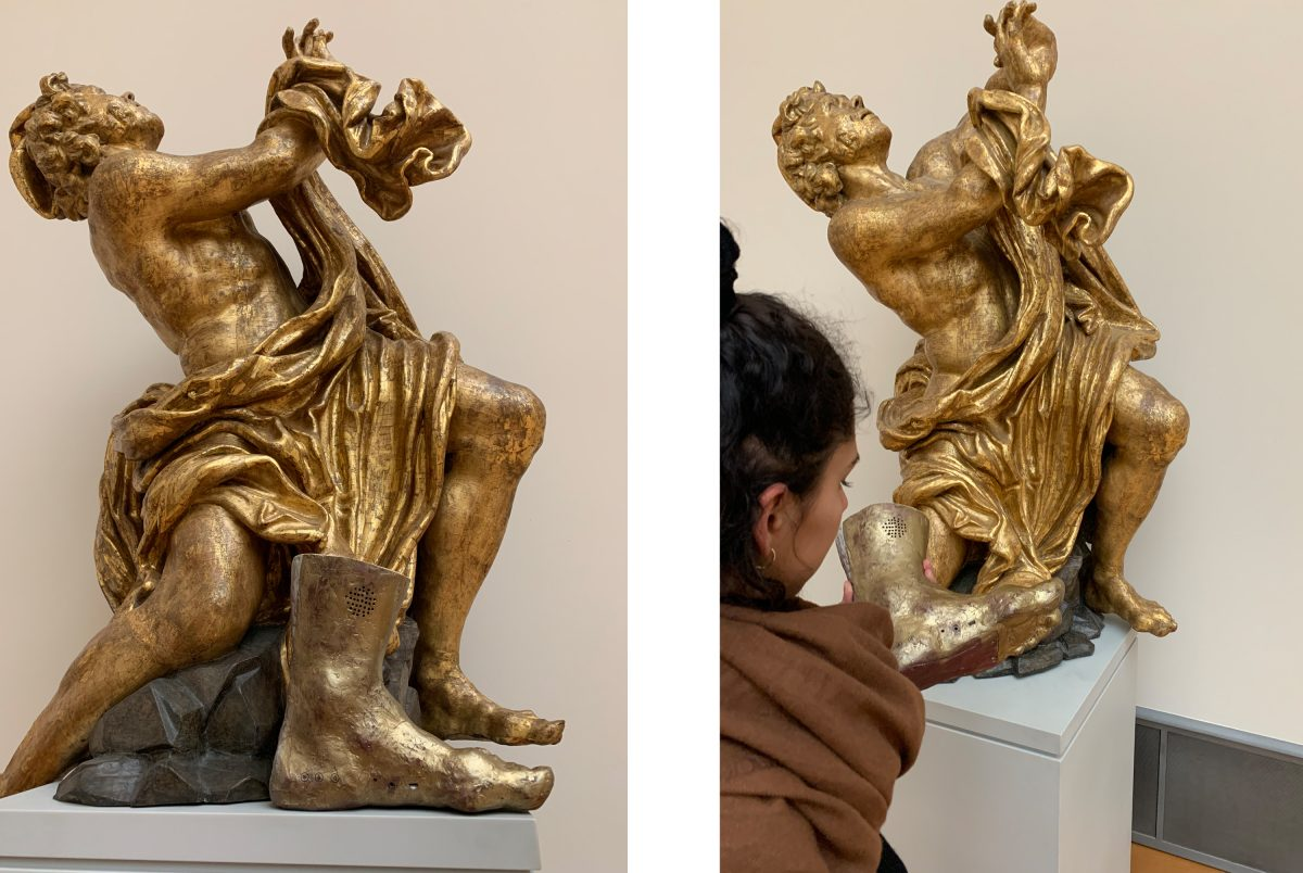 Foot of Dismas, the good thief, 1646/1655, and its sculpture at the Bodemuseum
